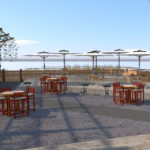 Risers break down the size of the beer garden, and also provide viewing platforms for performances